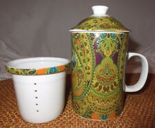 **PAISLEY TEA CUP WITH INFUSER AND LID**