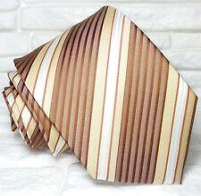 Cravatta marrone e crema Nuova seta 100% Made in Italy handmade Morgana marca