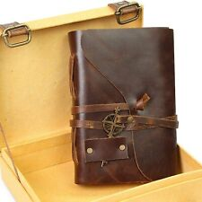 Vintage Leather Journal In Keepsake Gift Box Deckle Edge Paper 5x7 Or 4x6