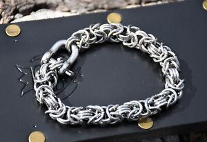 Vintage Byzantine Weave Stainless Steel Bracelet! Shackle Clasp! marked France!
