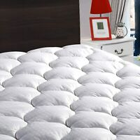 Cooling Mattress Pad Cover Snow Down Alternative Pillow Top Topper Luxury Bed