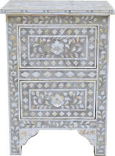 Handmade Mother of pearl Floral Design Grey Bedside Table.