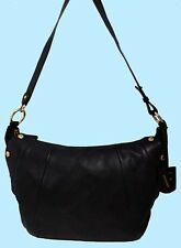 FURLA ELISABETH Pebbled Onyx Black Leather Shoulder Bag Msrp $598.00