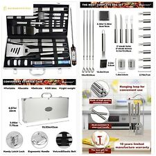 Romanticist 27pc Bbq Grill Accessories Set with Thermometer for Men Dad on Fathe