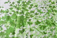 Vtg 1970s Sears Full Sized Fitted Sheet Green Trees Leaves Elastic Shot Cutter