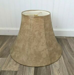 "1970's Bell Lamp Shade with Spider Assembly 11.5x8x17"" Textured Leather Look"