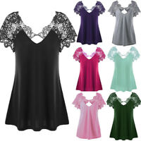 Plus Size Women Fashion Blouse Lace Short Sleeve Trim Cutwork T-Shirt Tops Loose