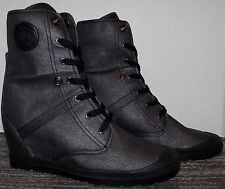 L@@K>>NEW PALLADIUM FOLD~DOWN CONCEALED WEDGE LEATHER BOOTS WOMEN'S SIZE 9.5 M!