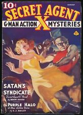 SECRET AGENT X August 1937 Pulp NORMAN SAUNDERS Bondage GGA Weird Menace Cover