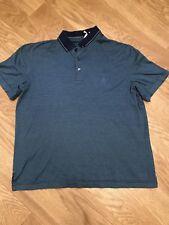 Mens Axis Blue Striped Short Sleeve Polo Shirt Sz Medium