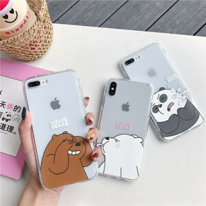 For IPhone 13 12 11 Pro Max XS 6 7 8 Cute Cartoon We Bare Bears clear Phone Case
