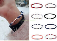 Unisex Couple Braided Bracelet Hand Made Silver Magnet Buckle Hand Rope