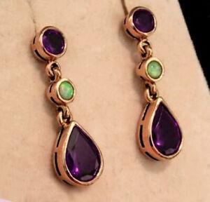 E137 Genuine 9K SOLID Rose Gold NATURAL Amethyst & Opal Drop EARRINGS Stud