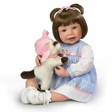 Emma & Baby Boots Poseable Lifelike Girl Doll Plush Kitten  The Ashton-Drake