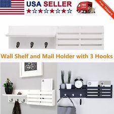 "Wall Mounted Floating Shelf Letter Holder with Hooks,Hanging Storage Shelf, 24"""