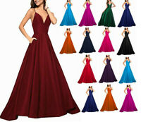 Straps V Neck Long Satin Bridesmaid Prom Dresses Formal Evening Party Gown 6-20