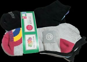 Fruit Of The Loom Girls 6 Pack Ankle Socks size Large Kids/adult RAINBOW