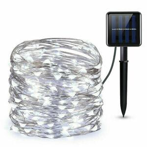 100 LED Solar String Fairy Lights Waterproof 10M Copper Wire Outdoor & Garden UK