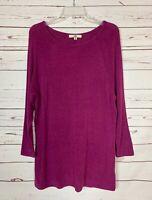 Ya Los Angeles Boutique Women's M Medium Purple Cute Fall Soft Tunic Sweater Top