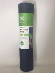 Gaiam Premium Pilates Mat 5 MM- Extra Thick Cushioned Support - Navy Blue