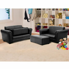 2 Seat Kid Sofa Leather Children Couch Chair w/ Ottoman