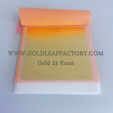 "Edible Patent transfer gold leaf 23kt booklet 25 leaves sheets 3.15""x3.15"" cake"
