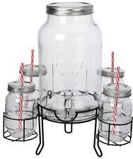 Getränke Spender Set mit 4 Gläsern und Ständer - Dispenser Gestell Strohhalm