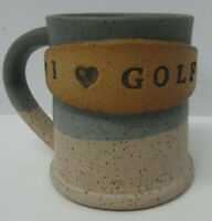 Golf Coffee Mug Pottery Artist SIGNED Cup Rustic Country Blue Hand Crafted Gift