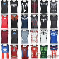 b95920624a702 Mens Marvel Running Cycling Vest Base Layer Singlet Tank Tops Fitness  Costume