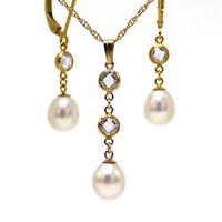 Feine Hals Kette 46cm + Anhänger + Ohrringe Zucht Perlen weiß ygf 14k Gold 585