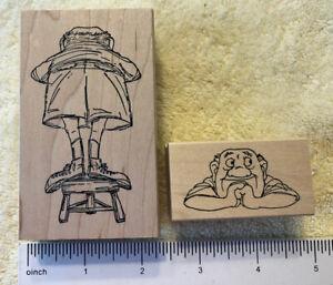 Lot 2 Vintage Art Impressions Rubber Stamp Old Man Stool T-1718 Front Back 1998