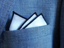 WHITE COTTON POCKET SQUARE HANDKERCHIEF navy blue edge. WEDDING unisex. mod