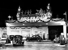 1939 Gulf Gas Station Decorated for Christmas at Night  8 x 10 photograph
