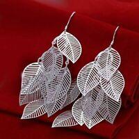 Silver Plated Leaf Earrings Boho Jewellery Beach Bohemian Summer Fashion UK