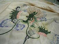 "Cream Silk Kimono/Robe WWII Era Embroidered Dragons Estate Size Sm-Med 24""x 47"""