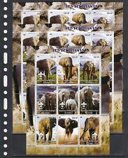 Elephants Wild Animals Scout 2004 Congo MNH 9 v M/s perf X 5 Wholesale lot