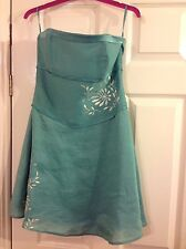 NEW MONSOON Pale Green Embroidered Linen Short  Dress size 10 RRP £65.00