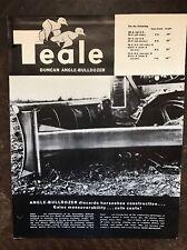 Vintage Teale Duncan Angle Bulldozer Brochure Spec Sheet Construction Equip 50s