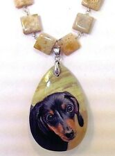 """Black &Tan Dachshund Handpainted on Jasper Pendant and 20"""" Silver link Necklace"""