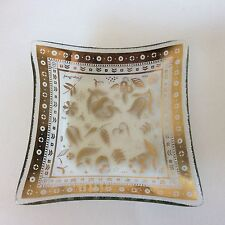 """Vtg Georges Briard Persian Garden 6"""" Square Bent Glass Tray Gold Signed Mcm"""