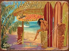 Kona Surfboard Rental Metal Sign, Hawaii Beach Scene, Retro Den, Bar Decor