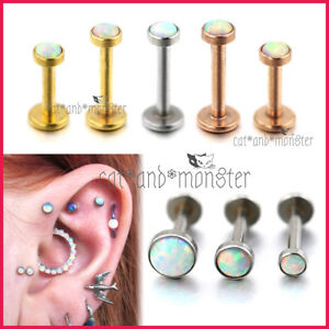 Opal Stud Internal Thread Ring Bar Lip Ear Earrings Nose Helix Tragus Piercing