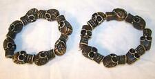 2 RING OF BROWN SKULLS BRACELETS skeleton circle skull head jewelry mens womens
