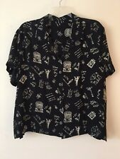 Black & White Button Down Short Sleeve Blouse Women's Size 1X