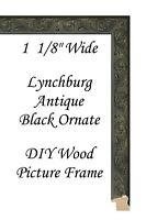 "DIY CUSTOM CUT 1 1/8"" Lynchburg Antique Black Ornate Wood Picture Frame Moulding"