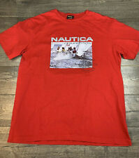 Vintage Nautica Competition Tee Shirt Sailboat Red Made in USA Men's Size L