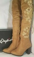 Qupid  Lace Up Knee High Light brown Camel  stretch  Block heel Boots size 7