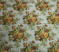 Vintage Yellow Rose Barkcloth Fabric Floral Bouquet Upholstery Drapery 47 x 360