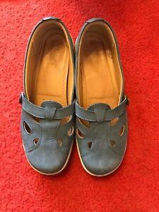 Hotter blue comfort shoes, Nirvana, size 6, leather flats (JFC)