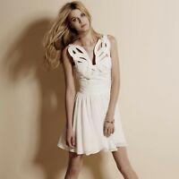 Stunning Reiss Sonia Ornamental Bodice White Skater Flared  Dress UK 6 USA 2